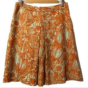 Etcetera orange/gray floral pleated skirt size 6